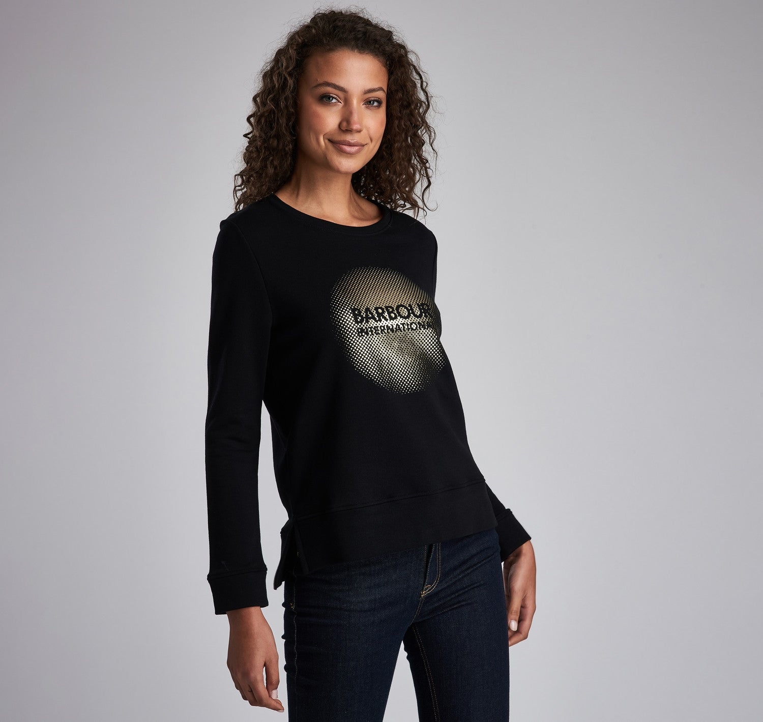 Barbour International Ronda Overlay Sweater for Ladies in Black