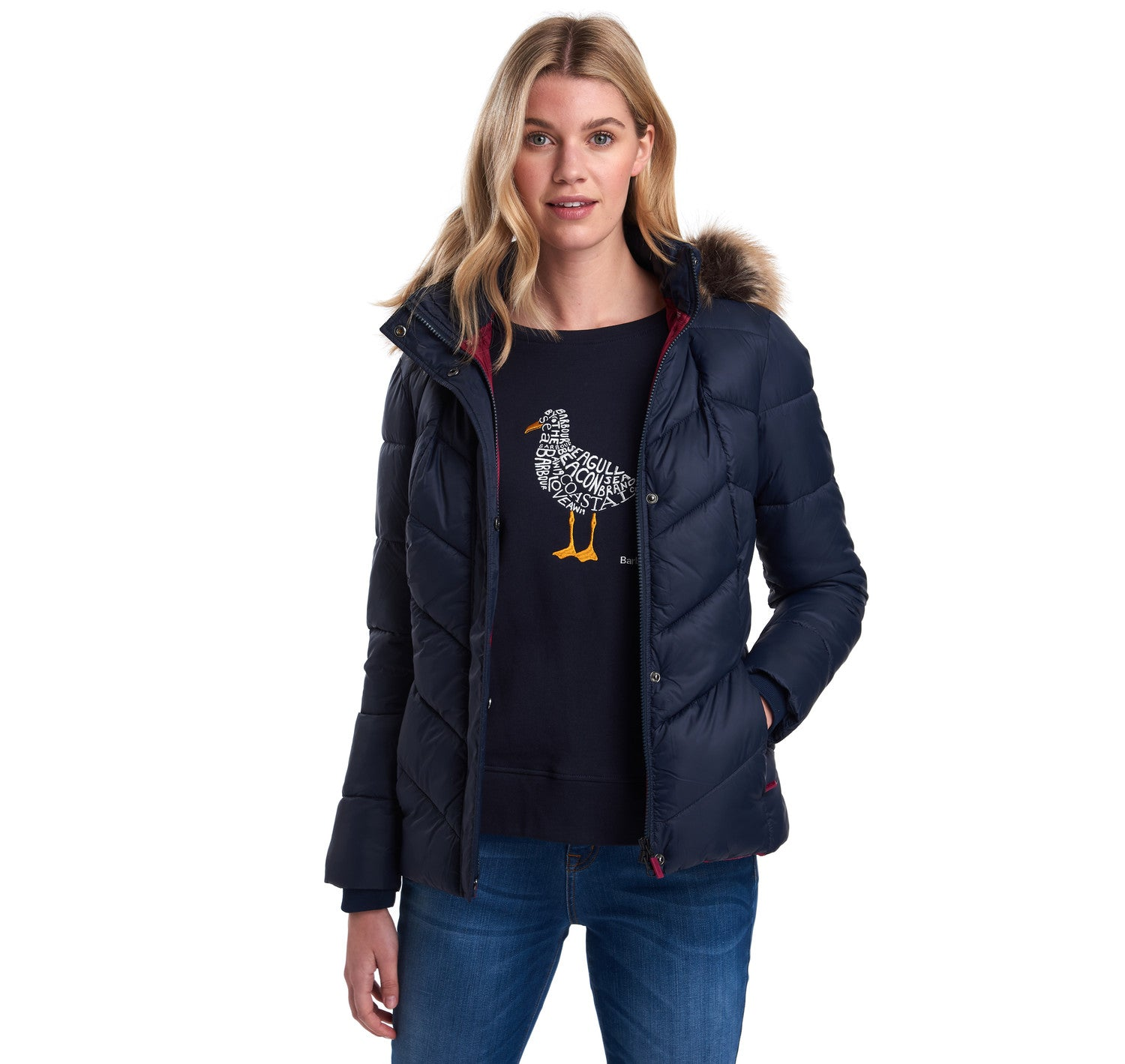 Barbour Downhall Quilted Jacket for Ladies in Navy
