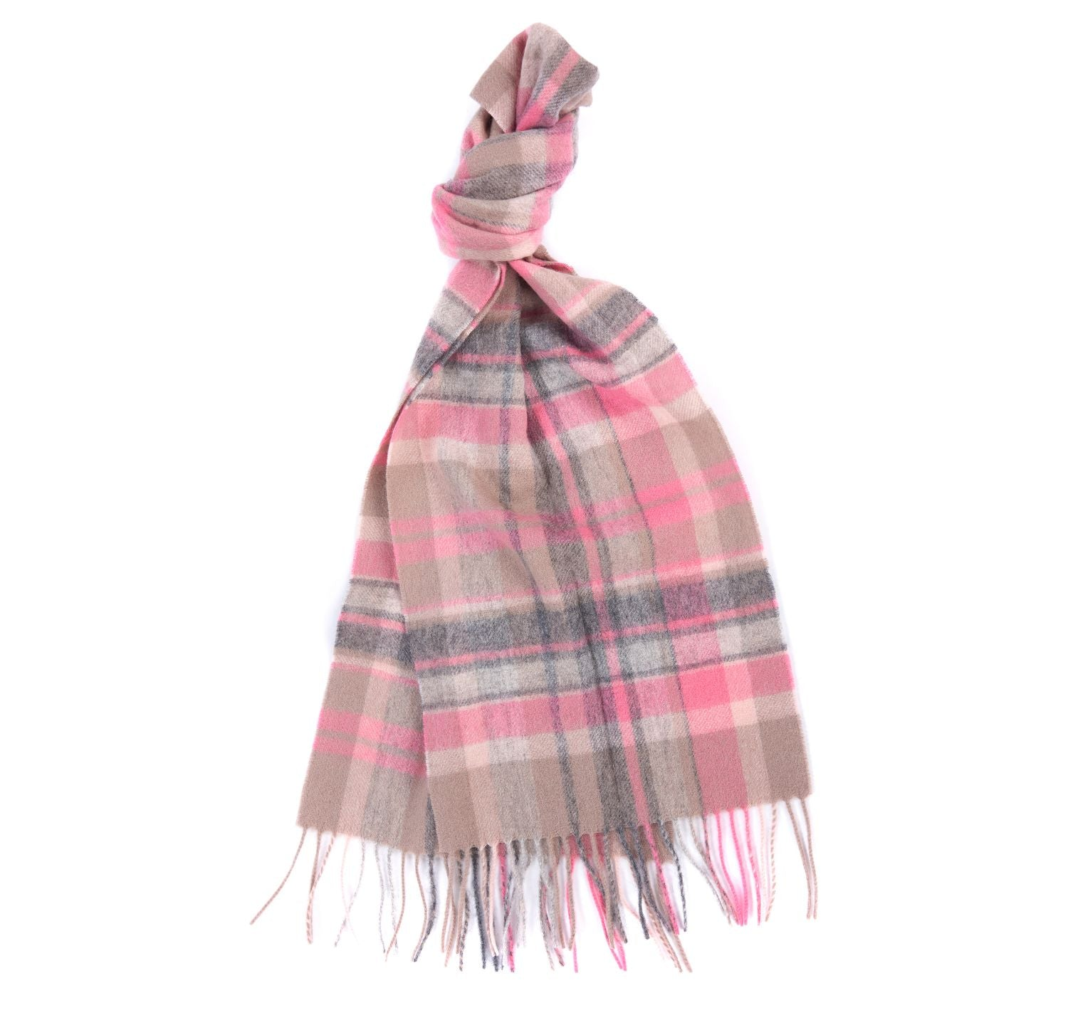 Barbour Vintage Plaid Scarf for Ladies in Taupe / Pink
