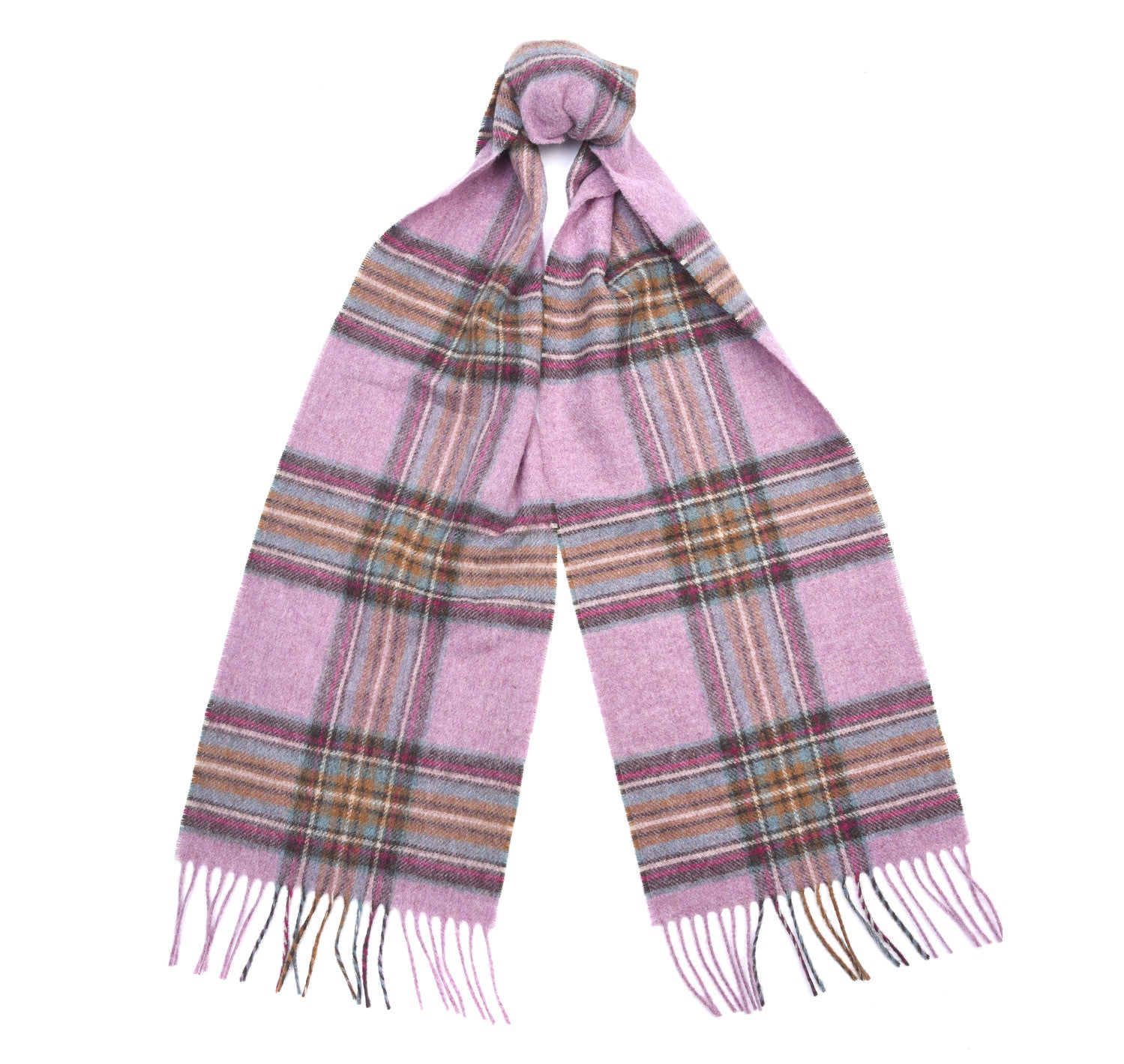 Barbour Country Check Scarf for Ladies in Pink