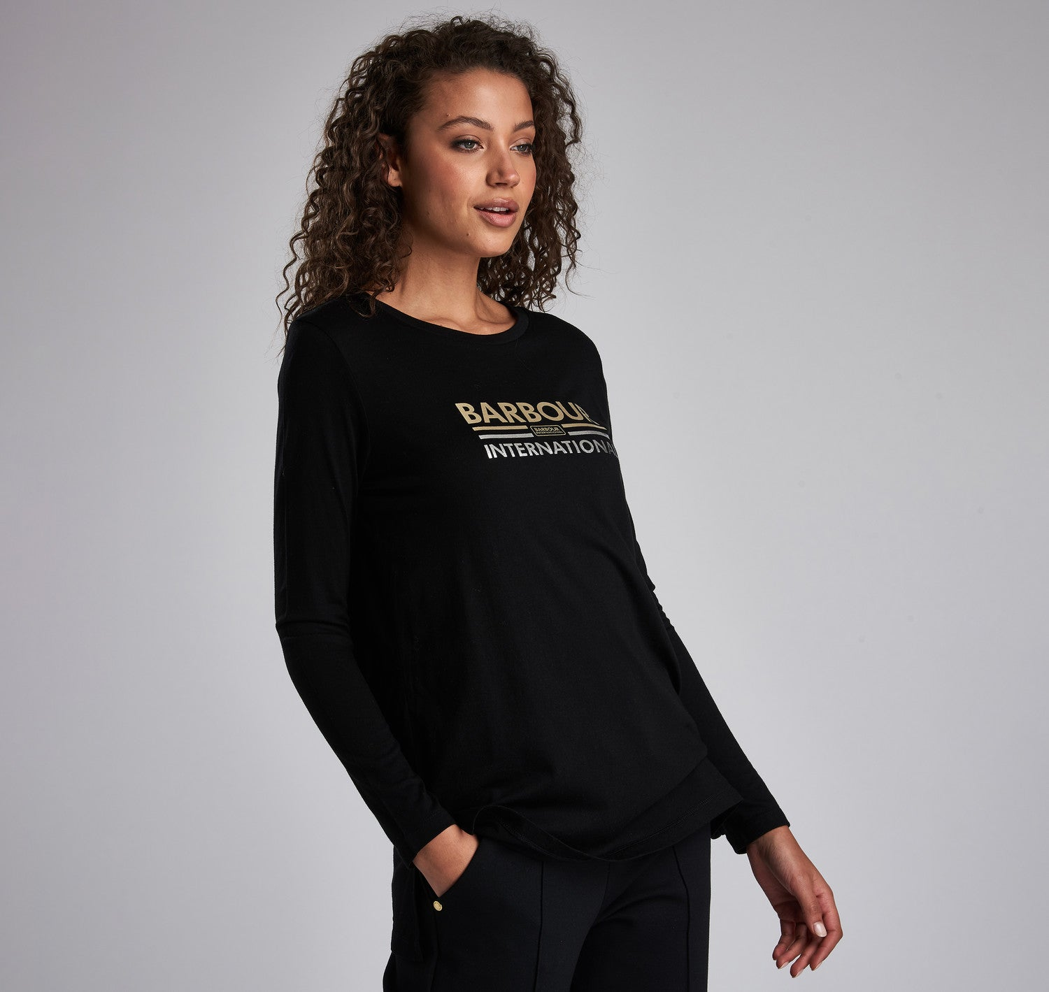 Barbour International Ronda Tee for Ladies in Black
