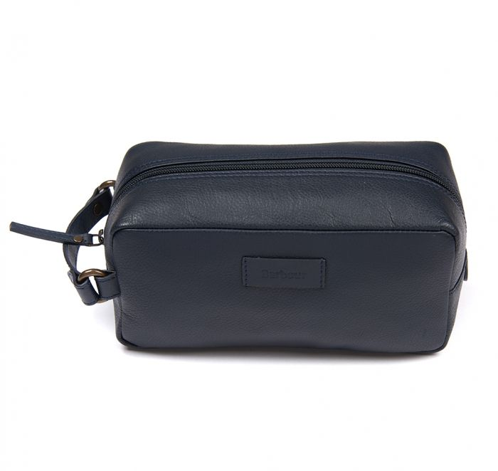 Barbour Compact Leather Wash Bag in Navy