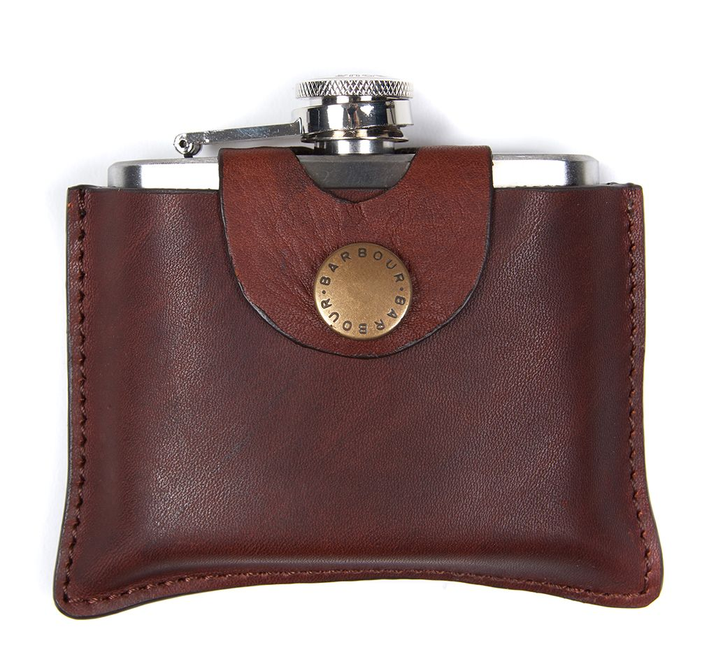 Barbour 5oz Leather Hip Flask in Brown