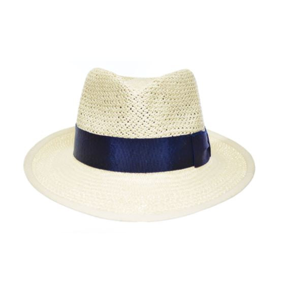 Pachacuti Mariner Open Weave Hat in Natural with Navy Ribbon
