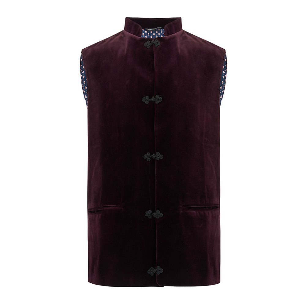Marmaduke Nehru Renoir Gilet for Men in Burgundy Velvet