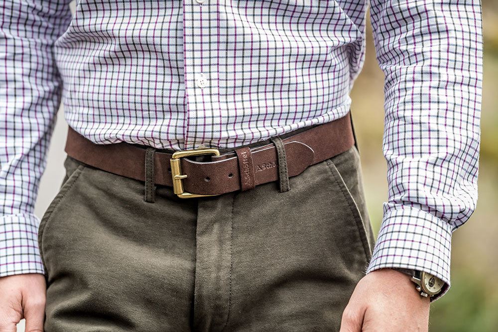 Schoffel Suede Belt for Men in Dark Brown
