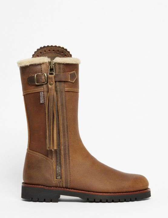 Penelope Chilvers Midcalf Tassel Lined Boot for Ladies in Biscuit