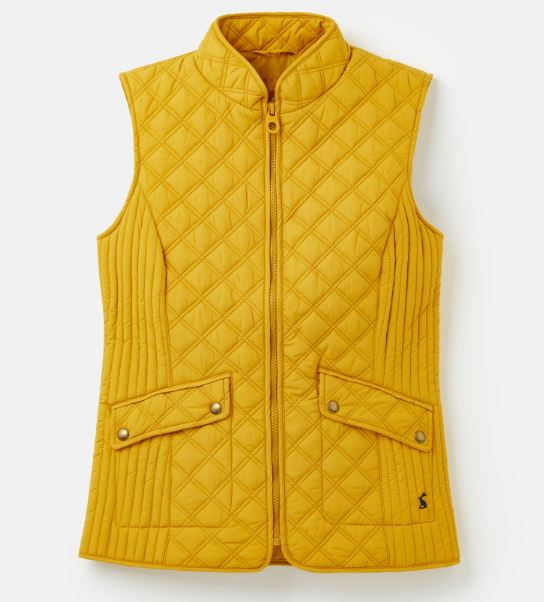 Joules Minx Quilted Gilet for Ladies in Antique Gold