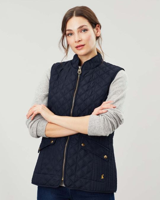 Joules Minx Quilted Gilet for Ladies in Marine Navy
