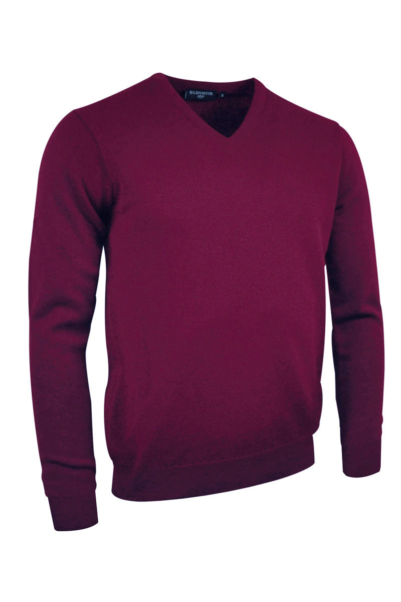 Glenmuir Lomond V Neck Lambswool Sweater for Men in Bordeaux