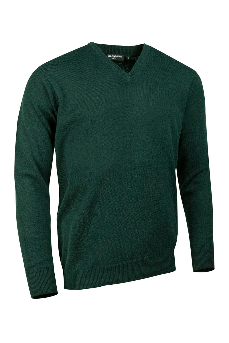 Glenmuir Lomond V Neck Lambswool Sweater for Men in Tartan Green