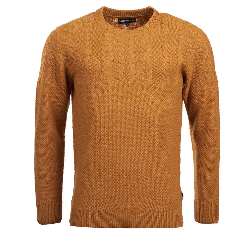 Barbour Crastill Cable Crew Neck Jumper for Men in Yellow
