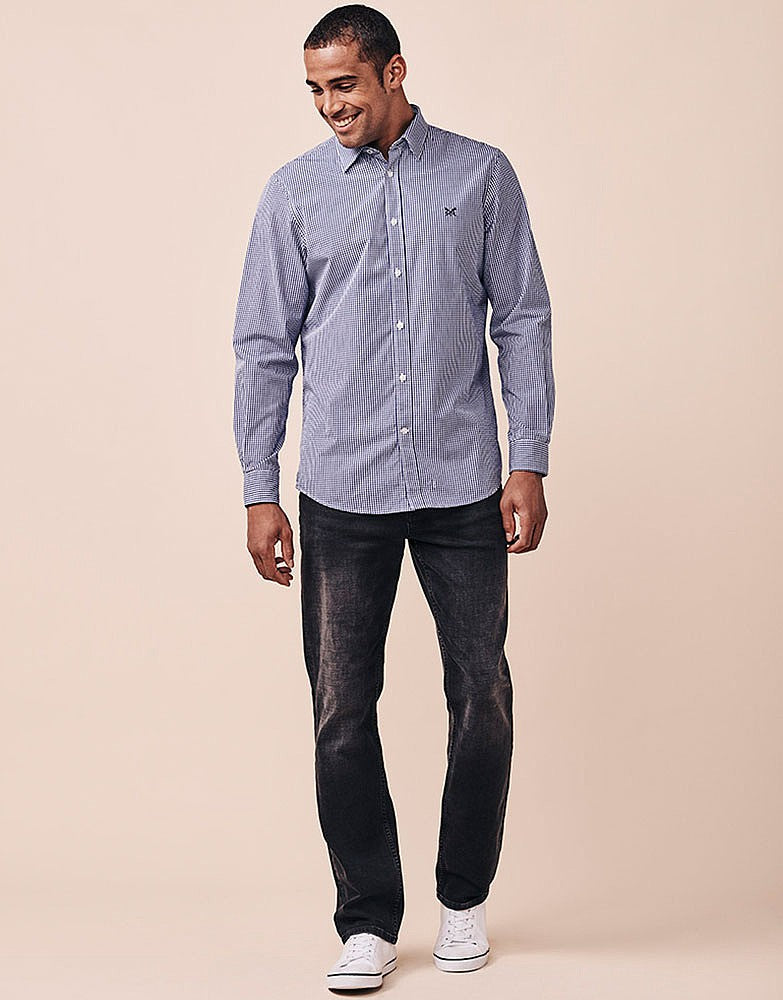 Crew Classic Micro Gingham Shirt for Men in Ultramarine