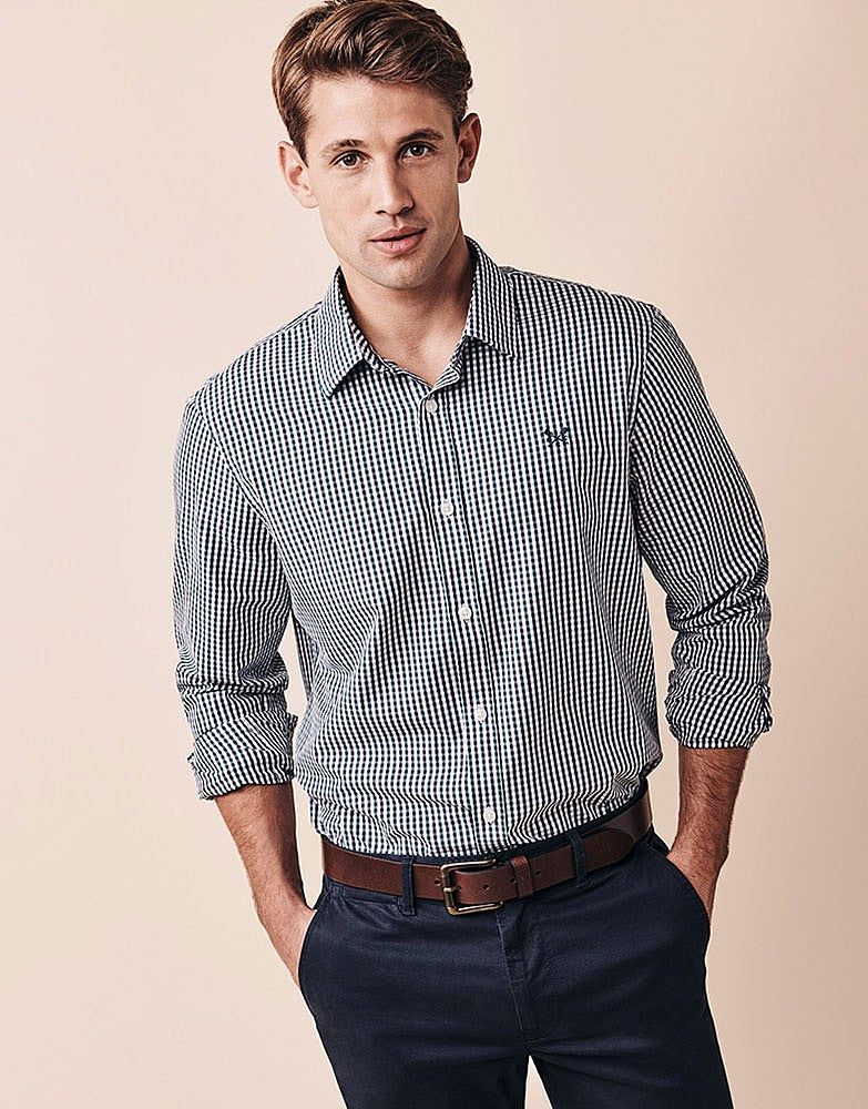 Crew Classic Tattersall Shirt for Men in Wash Ivy Navy