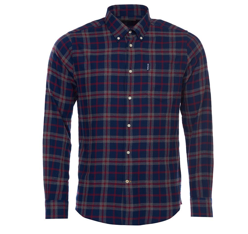 Barbour Highland Check 12 Tailored Fit Shirt for Men in Grey Marl