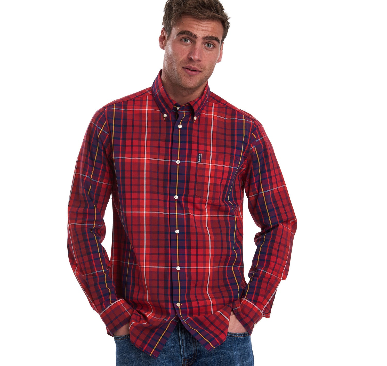 Barbour Highland Check 9 Tailored Fit Shirt for Men in Red