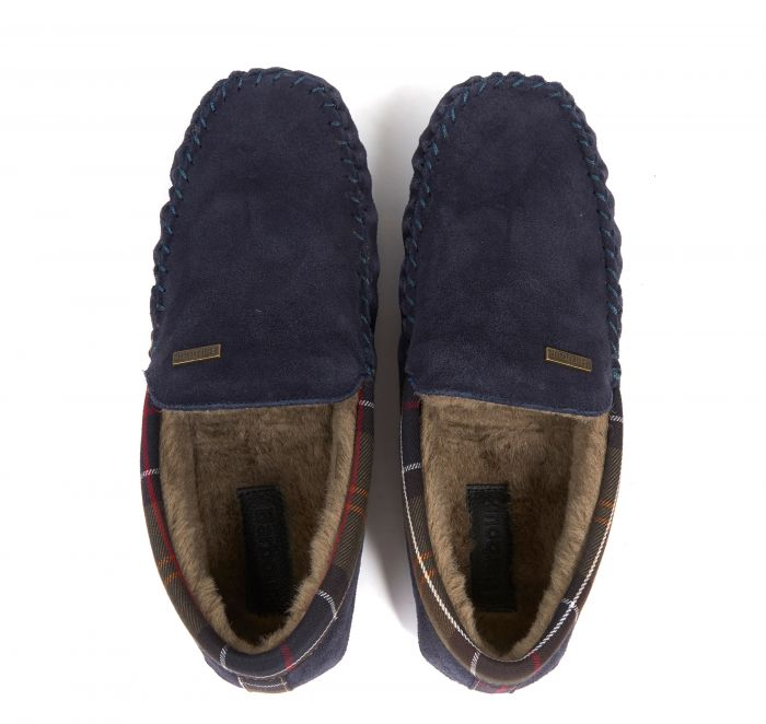 Barbour Monty Slippers for Men in Navy Suede
