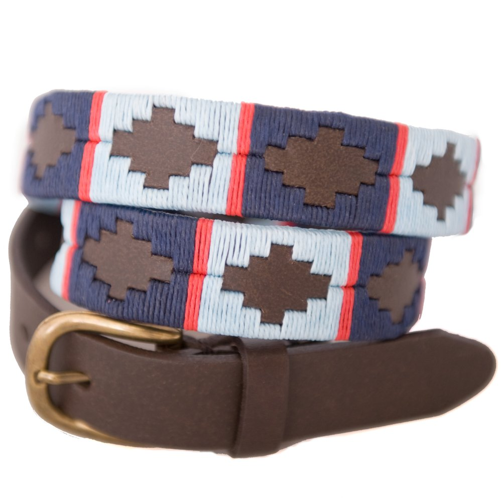 Pioneros Narrow Brown Polo Belt in Navy/Pale Blue/Red
