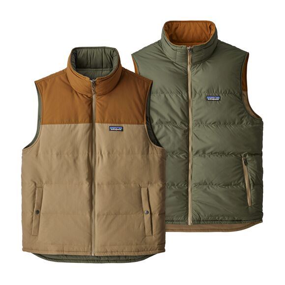 Patagonia Reversible Bivy Down Vest for Men in Mojave Khaki