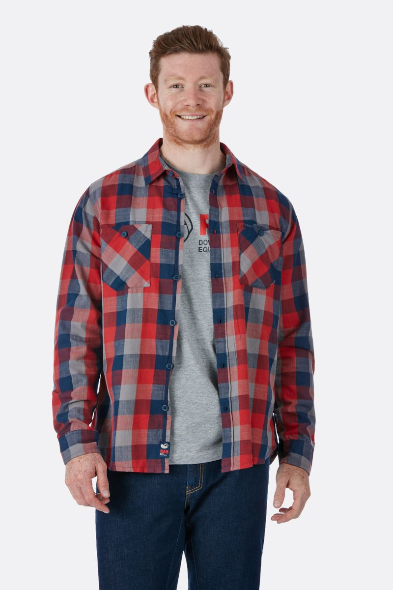 Rab Dusker Long Sleeve Shirt for Men in Autumn Red Check
