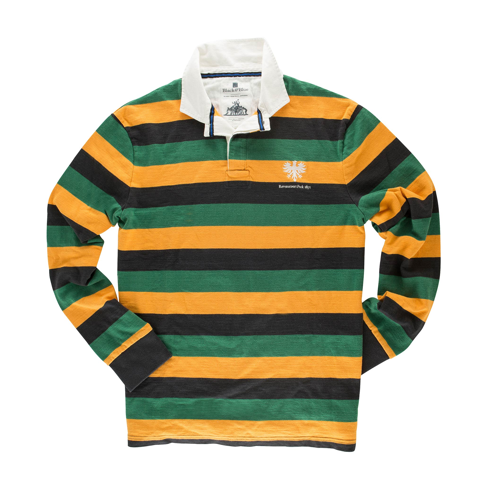 Black & Blue Ravenscourt Park Rugby Shirt for Men in Black/ Green/ Yellow