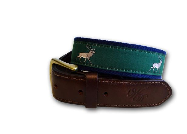 Wingfield Digby Stag Canvas and Leather Belt in Navy