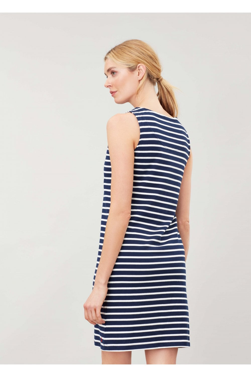 Joules Riva Sleeveless Dress for Ladies in Navy Cream Stripe