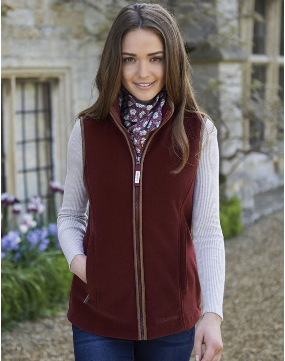 Schoffel Lyndon Fleece Gilet for Ladies in Ruby