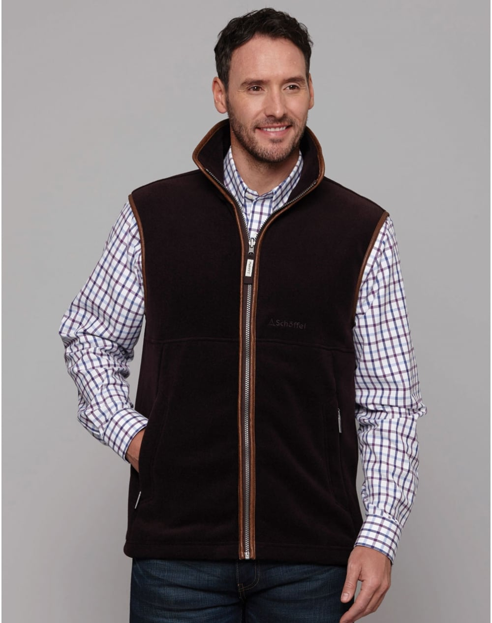 Schoffel Oakham Fleece Gilet for Men in Aubergine