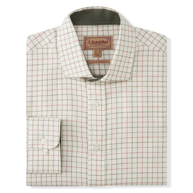 Schoffel Newton Tailored Sporting Shirt for Men in Olive/Brick Check
