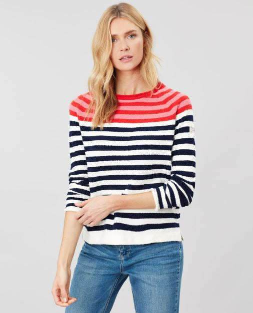 Joules Seaport Roll Neck Jumper for Ladies in Red Multi Stripe