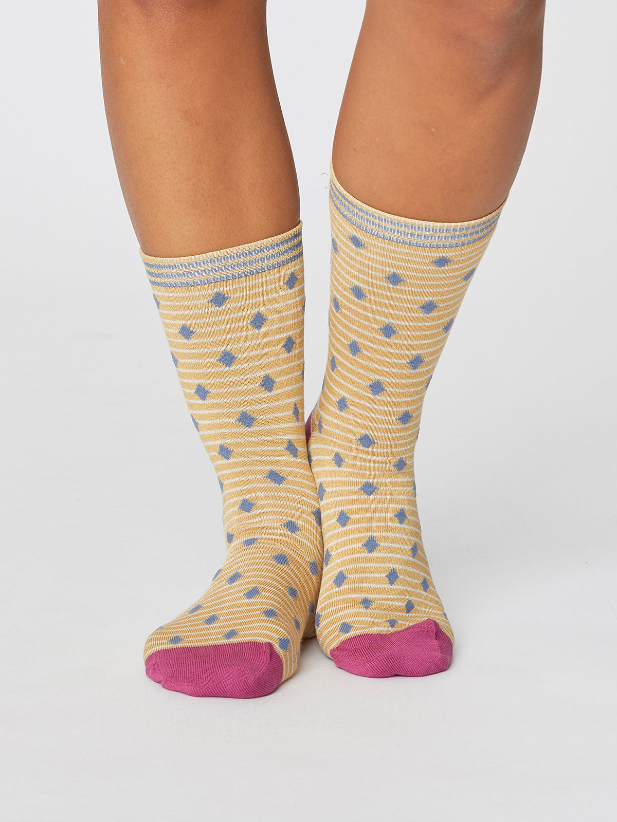 Thought Gilly Spot Socks for Ladies in Mimosa Yellow