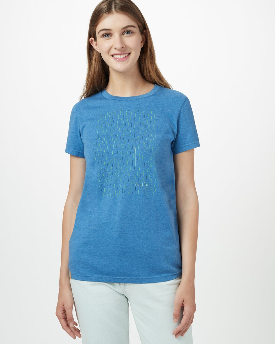 Tentree Stand Tall Short Sleeve Tee for Ladies in Blue Jay