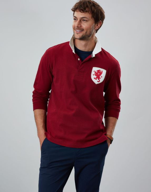 Joules Triumph Rugby Shirt for Men in Deep Red