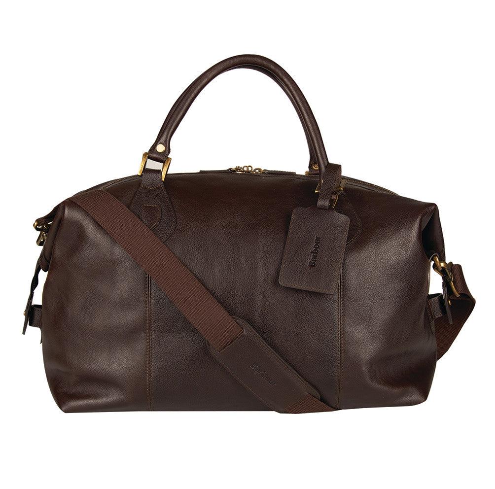 Barbour Leather Medium Travel Explorer Bag in Chocolate