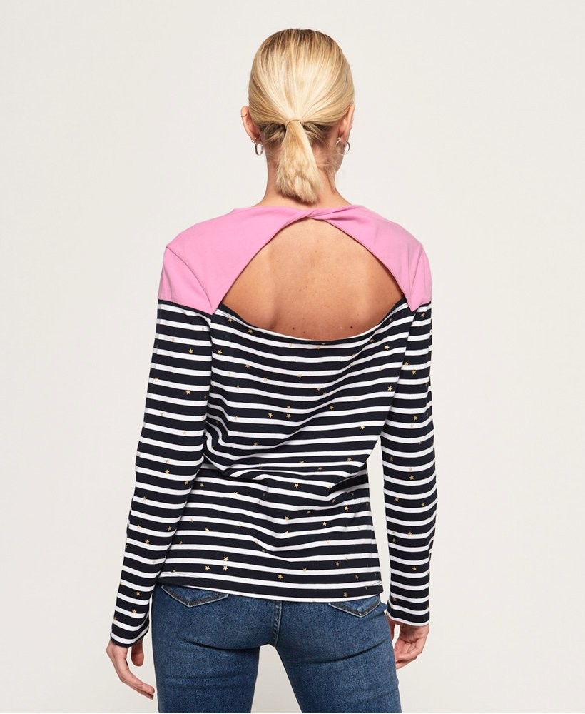 Superdry Conversational Twist Back Top for Ladies in Punch Pink