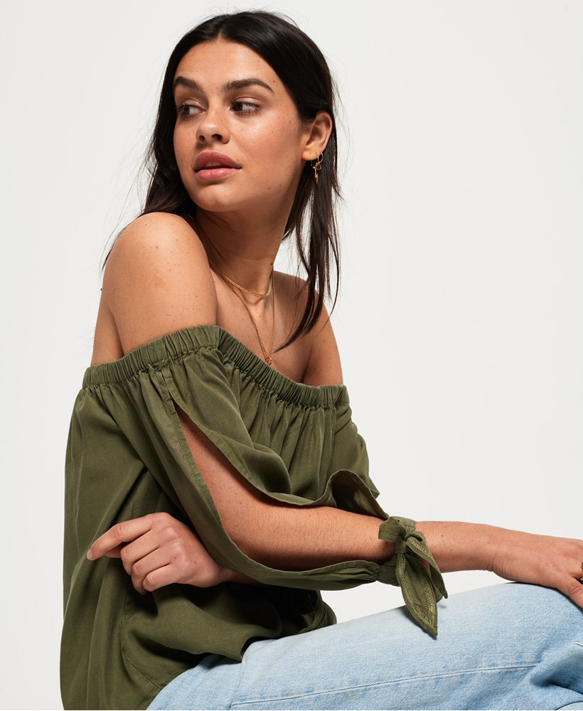 Superdry Helena Off The Shoulder Top for Ladies in Khaki