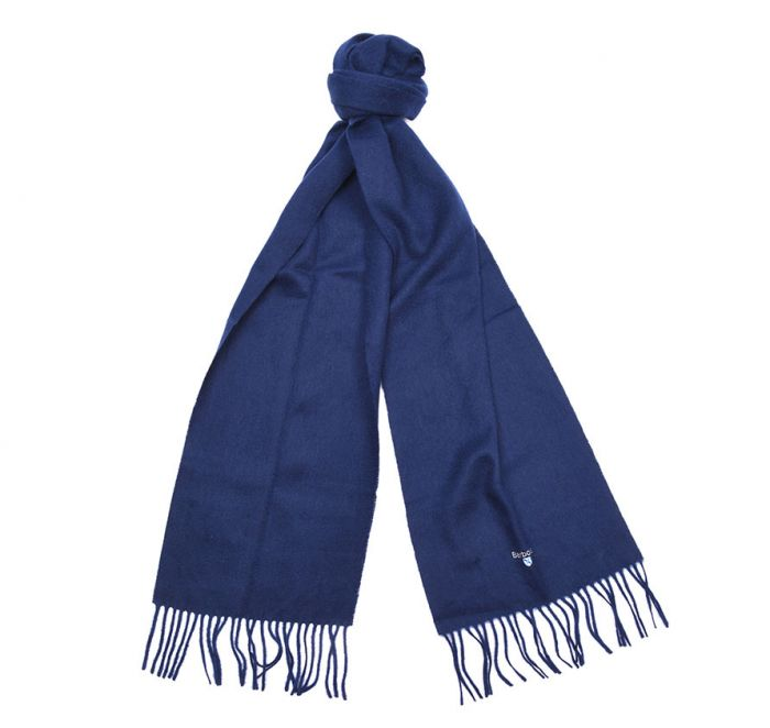 Barbour Plain Lambswool Scarf in Navy