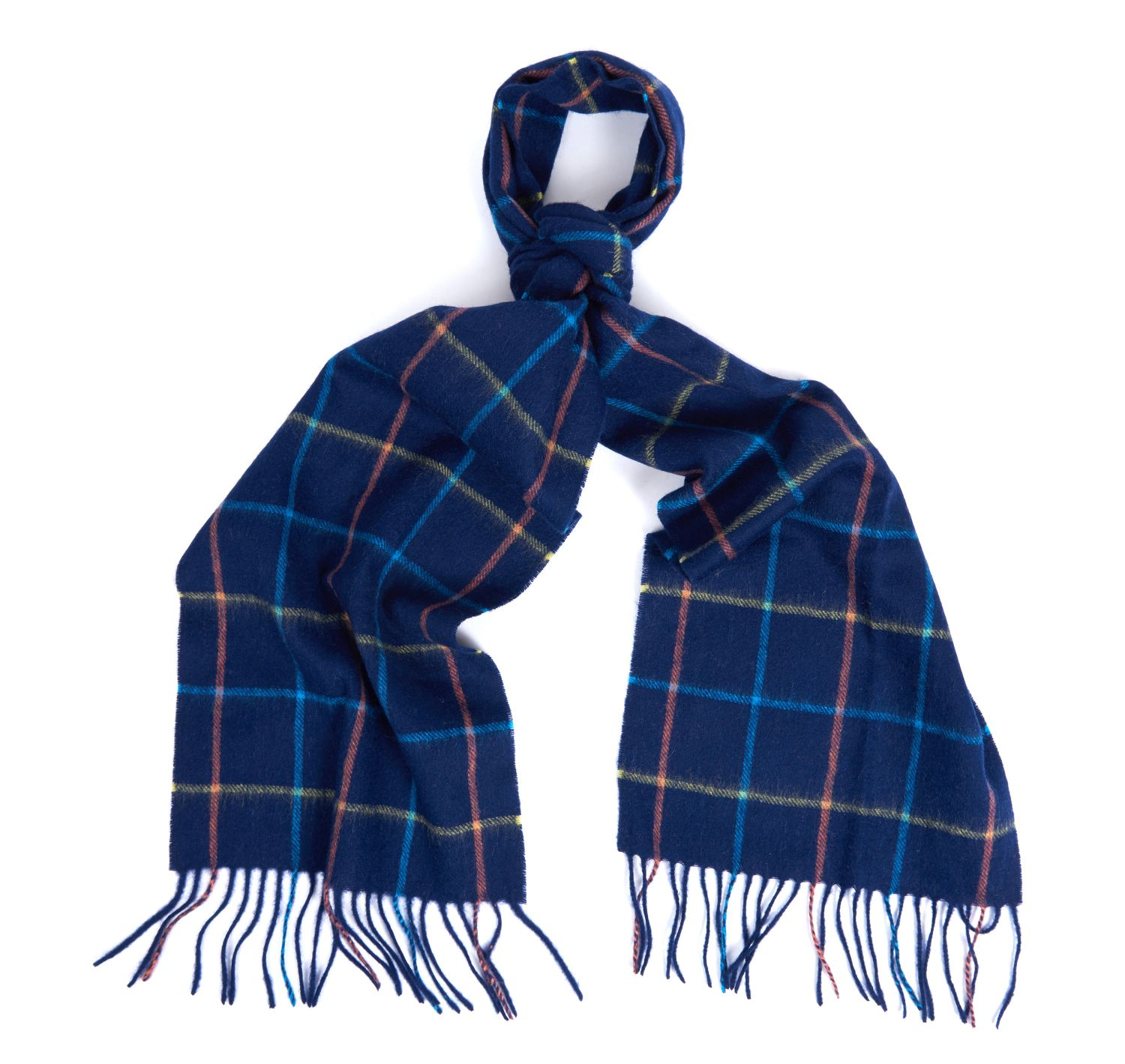 Barbour Tattersall Lambswool Scarf in Navy/Blue