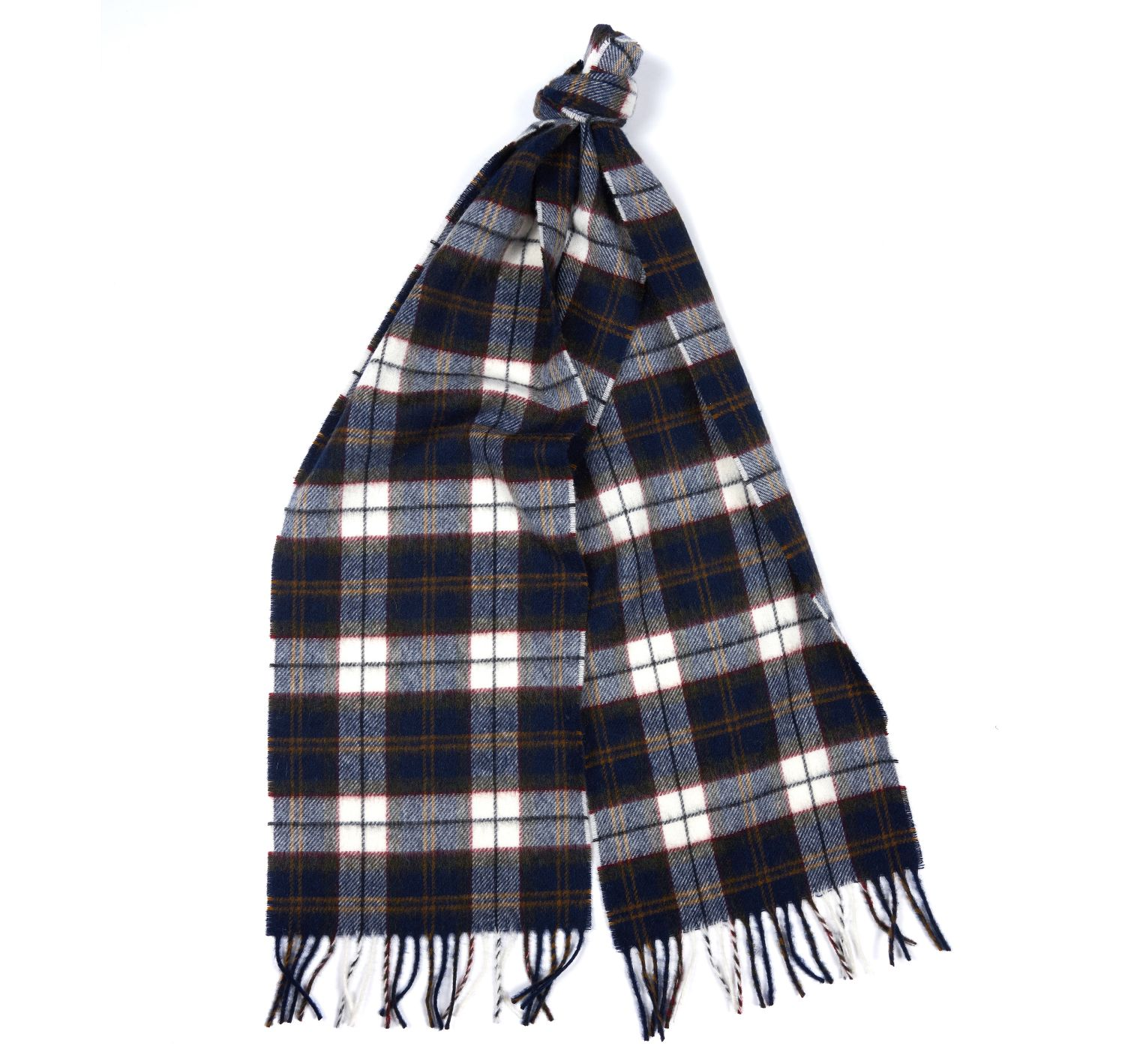 Barbour Robinsons Scarf in Navy Ecru and Olive