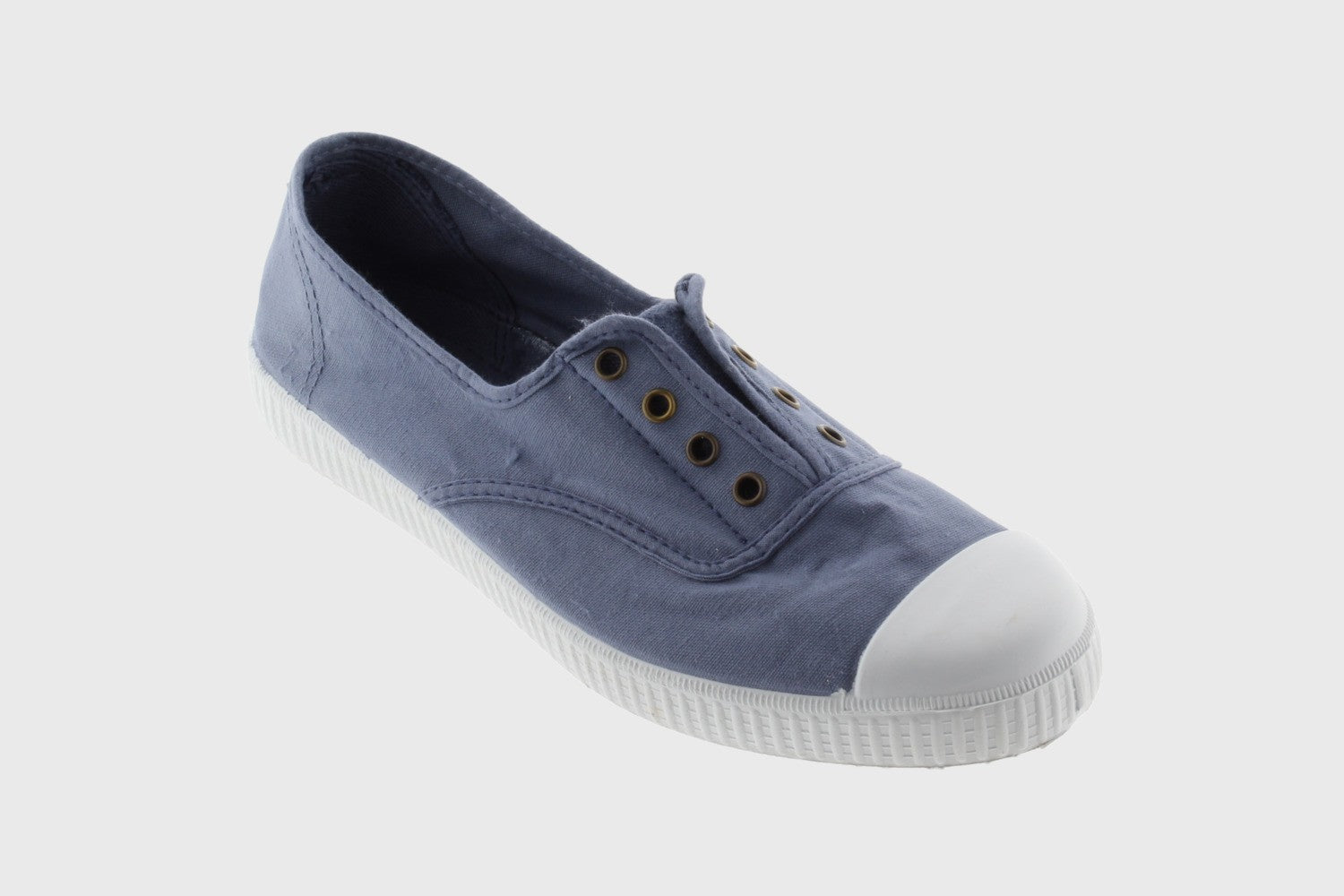 Victoria Canvas No Laces Trainers for Ladies in Jean Blue