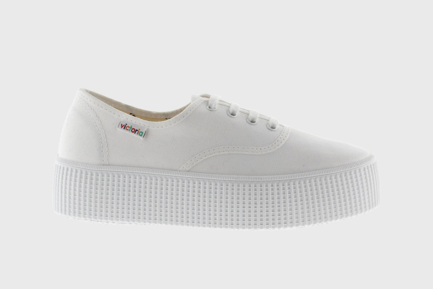 Victoria Inglesa Style Double Canvas Platform Trainer for Ladies in White