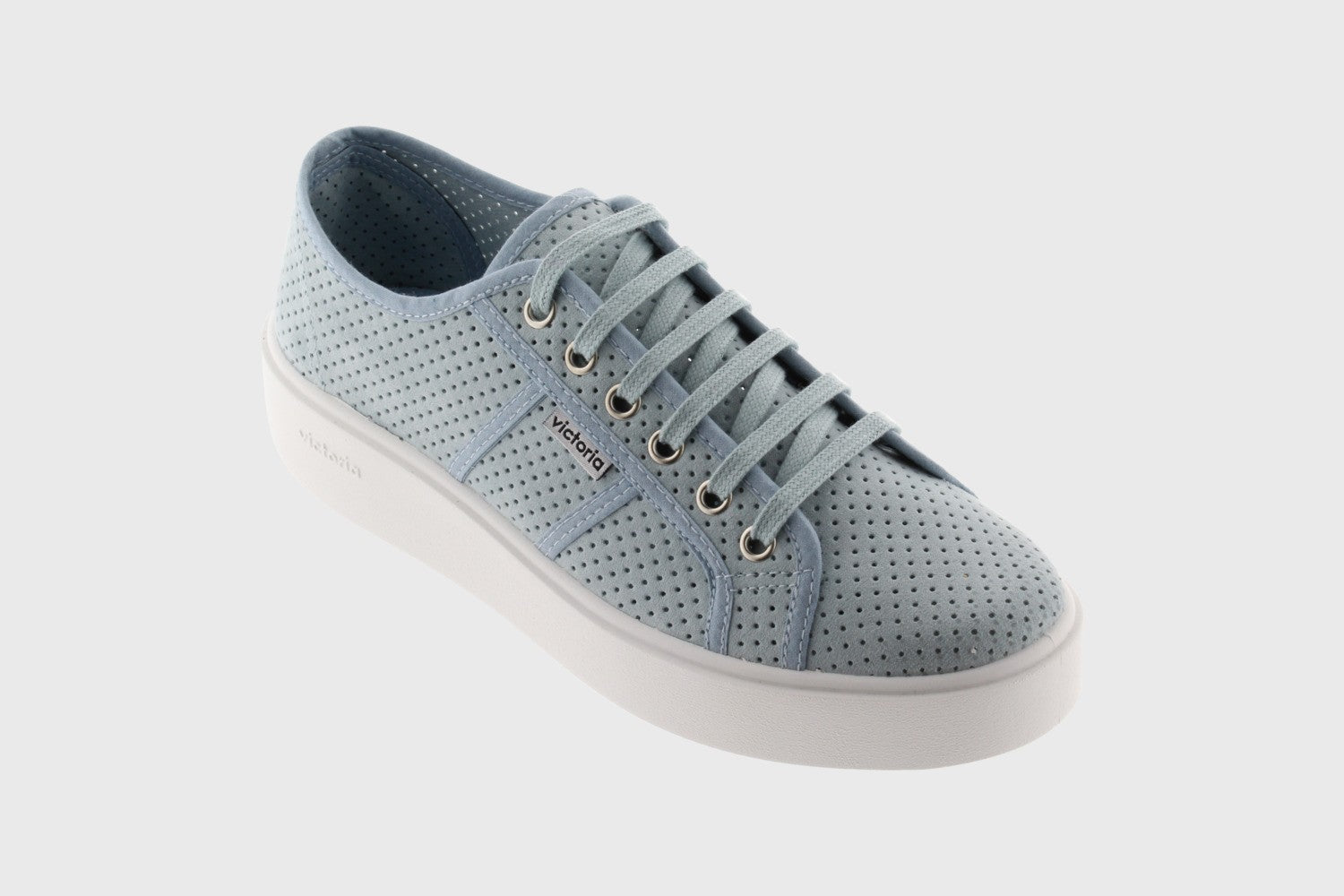 Victoria Perforated Imitation Suede Utopia Trainer for Ladies in Celeste Blue