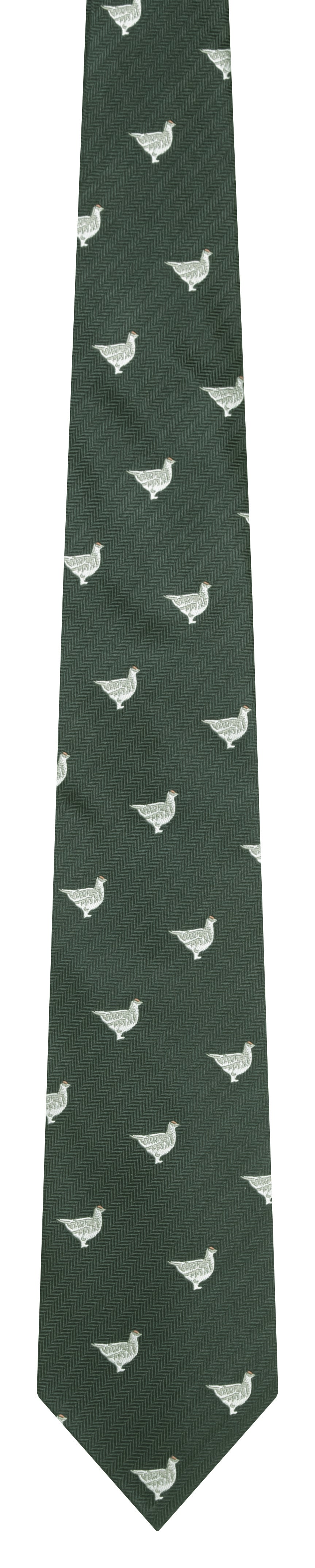 Schoffel Waltham Silk Tie for Men in Olive Ptarmigan