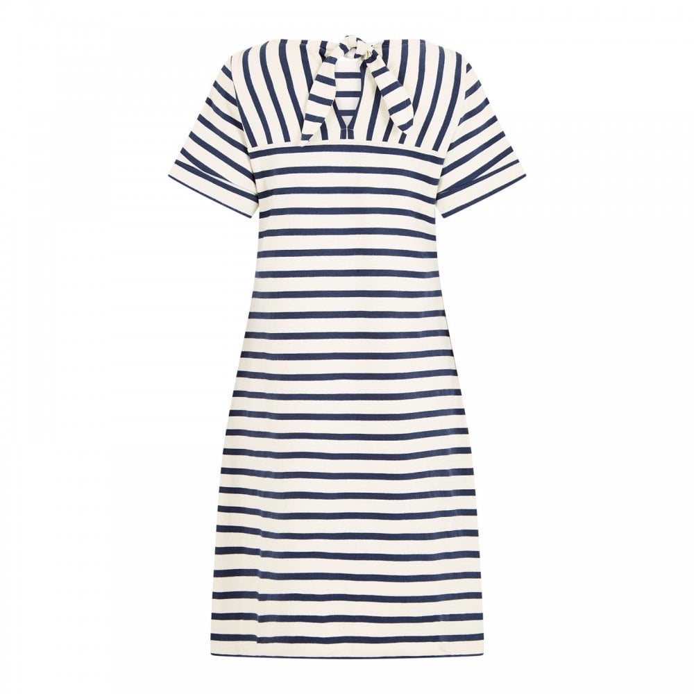 Weird Fish Etta Stripe Jersey Dress for Ladies in Light Cream