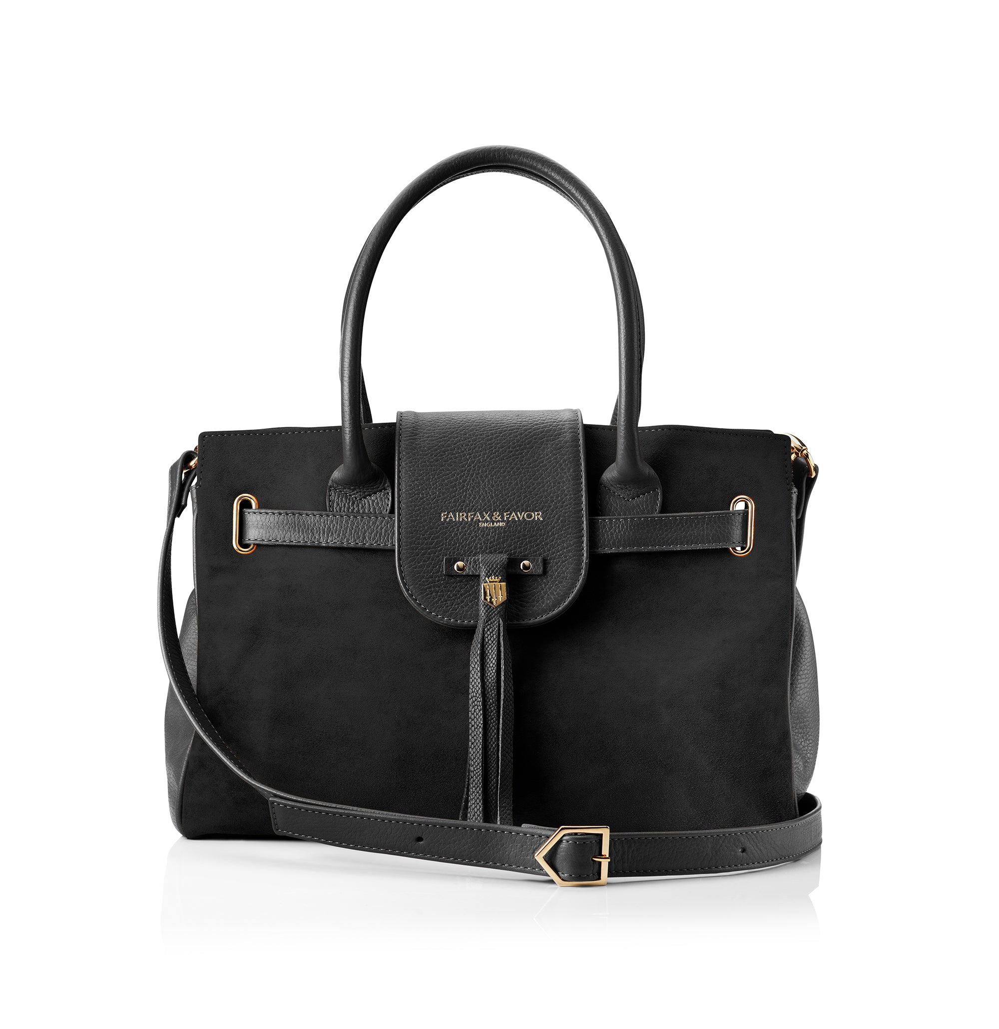 Fairfax and Favor Windsor Handbag in Black Suede
