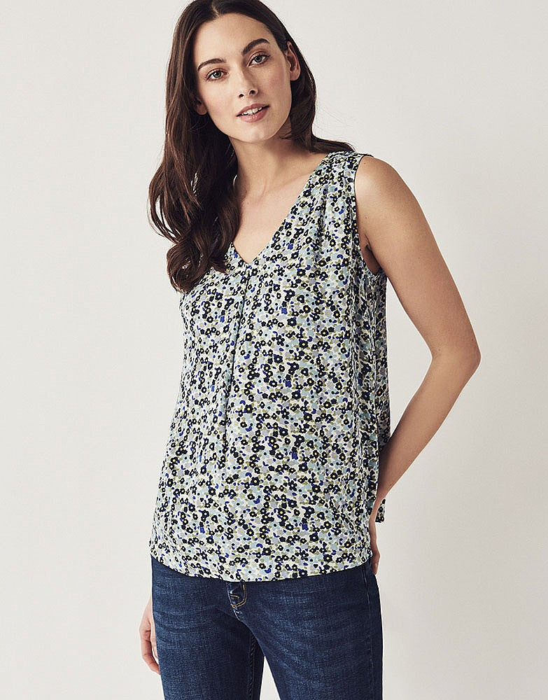 Crew Orla Sleeveless Top for Ladies in Blue Floral