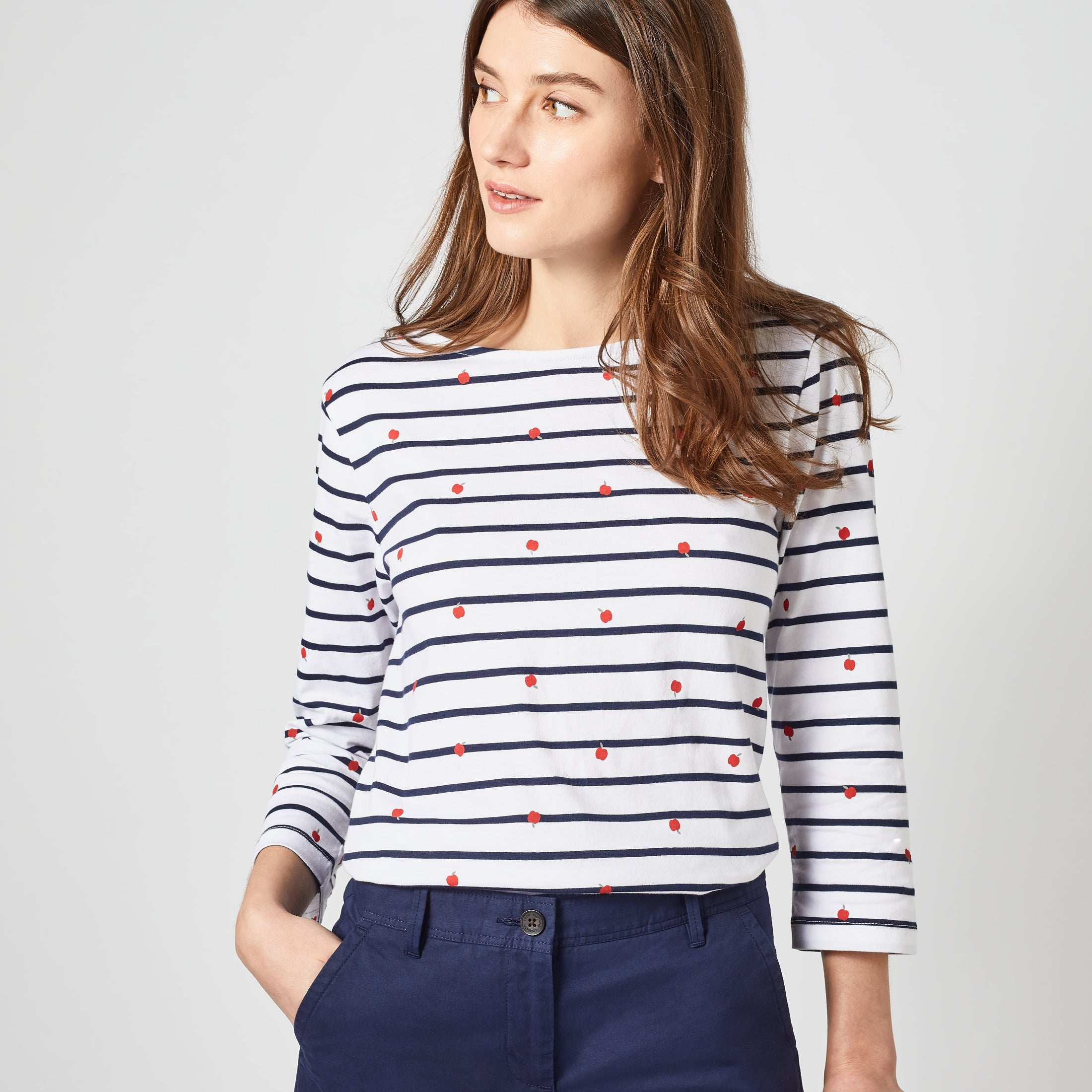 Crew Interest Breton Top for Ladies in Apple Print