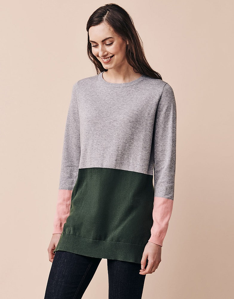 Crew Colourblock Tunic for Ladies in Green Mix