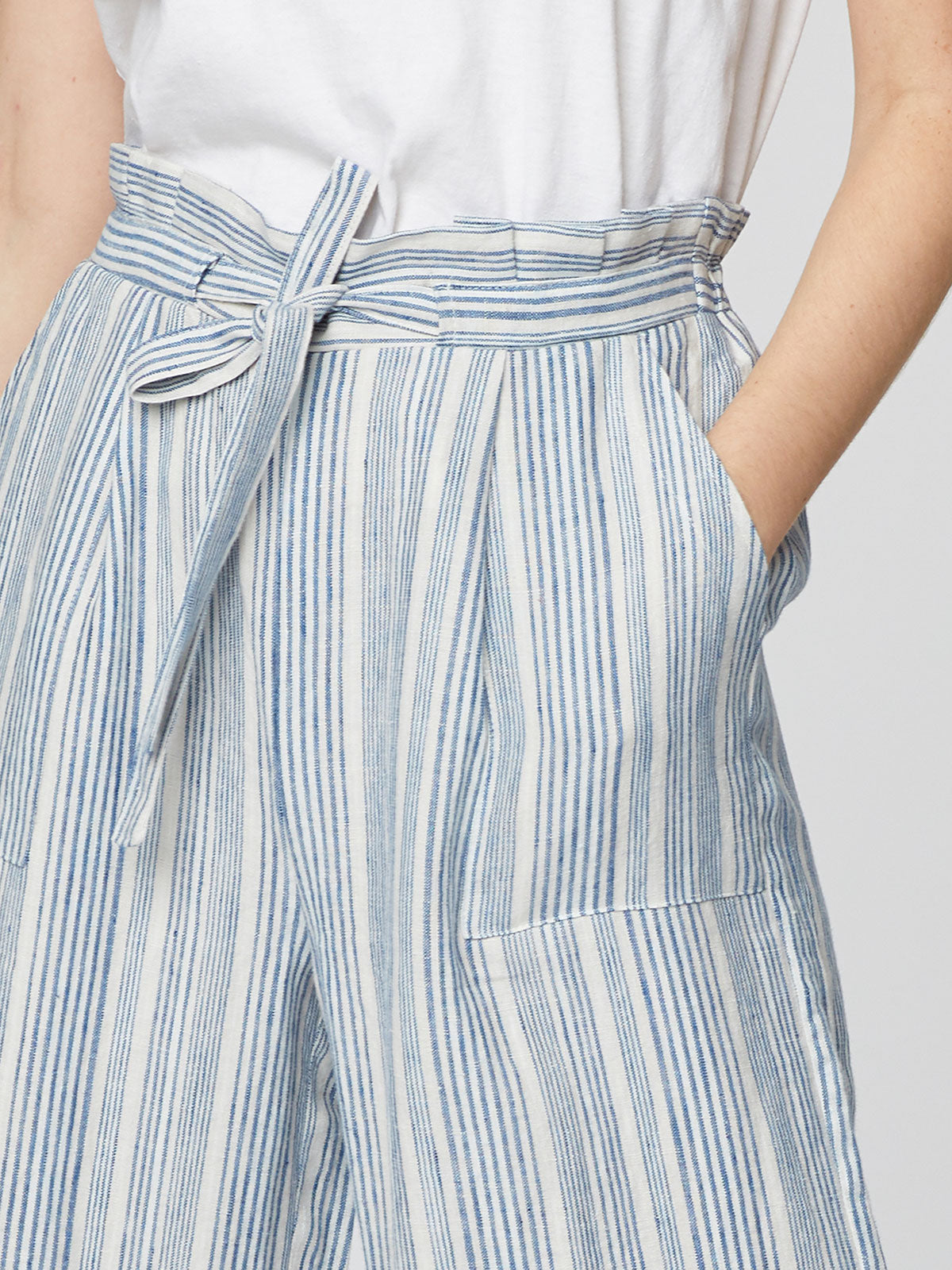Thought Luis Striped Culottes for Ladies in Oat White